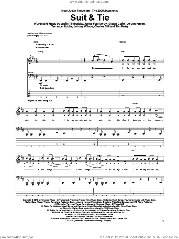 Suit and Tie sheet music for bass (tablature) (bass guitar) by Justin Timberlake. Score Image Preview.
