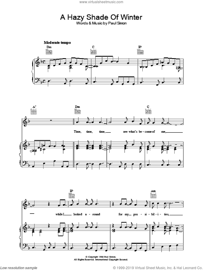 A Hazy Shade Of Winter sheet music for voice, piano or guitar by Paul Simon