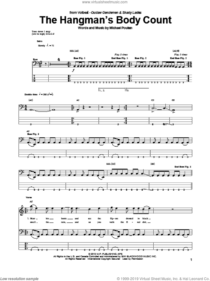 The Hangman's Body Count sheet music for bass (tablature) (bass guitar) by Volbeat. Score Image Preview.