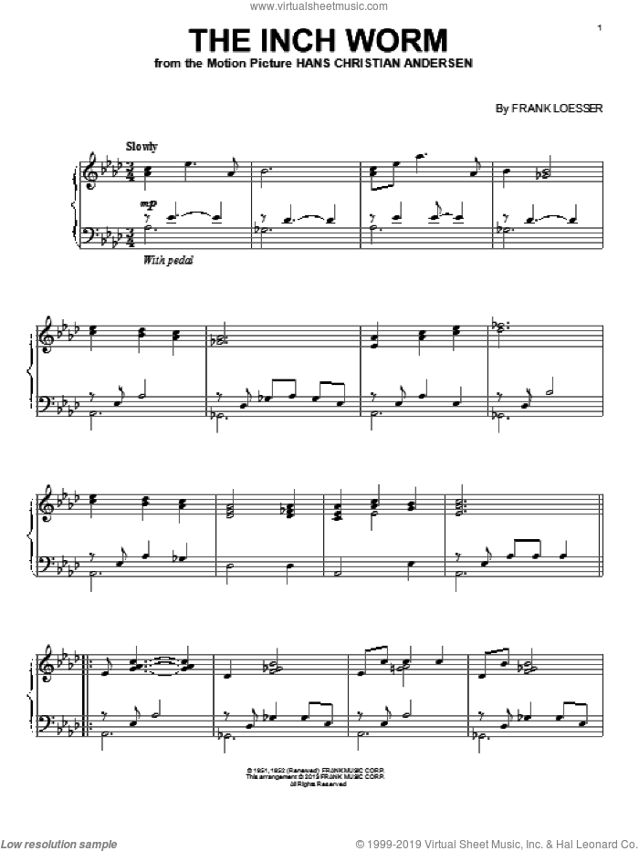The Inch Worm sheet music for piano solo by Danny Kaye and Frank Loesser, intermediate skill level