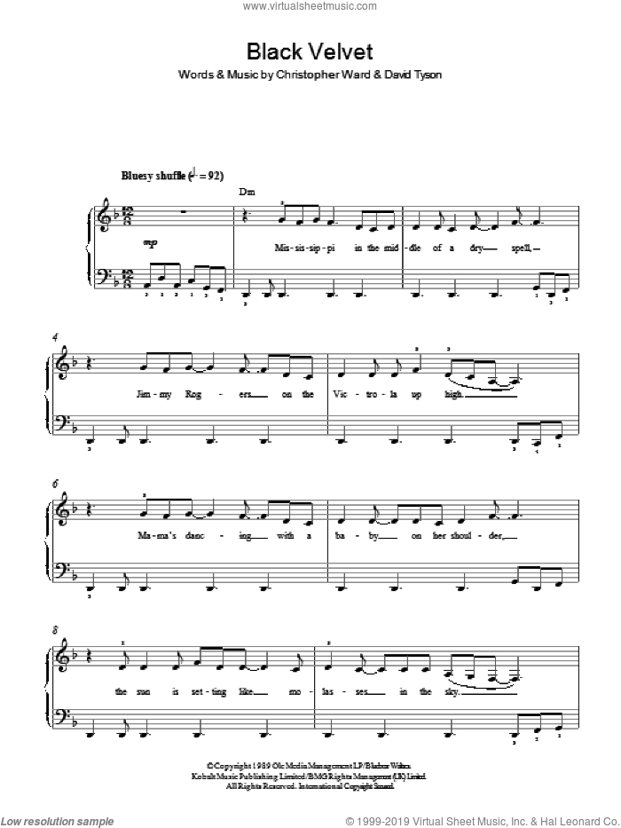 Black Velvet sheet music for piano solo by Alannah Myles, Christopher Ward and David Tyson, easy skill level