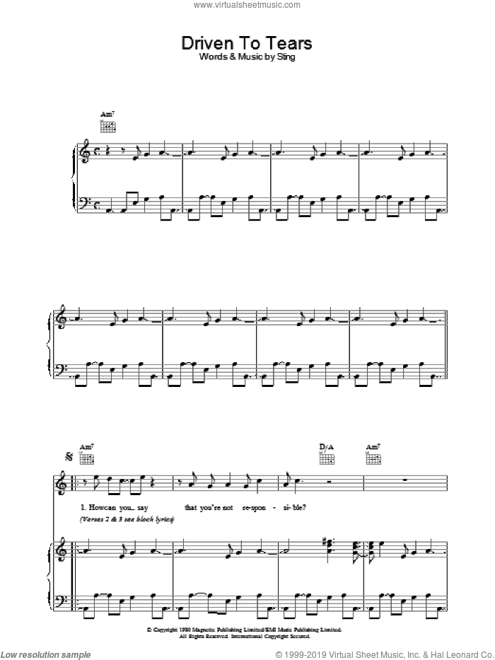 Driven To Tears sheet music for voice, piano or guitar by The Police and Sting. Score Image Preview.