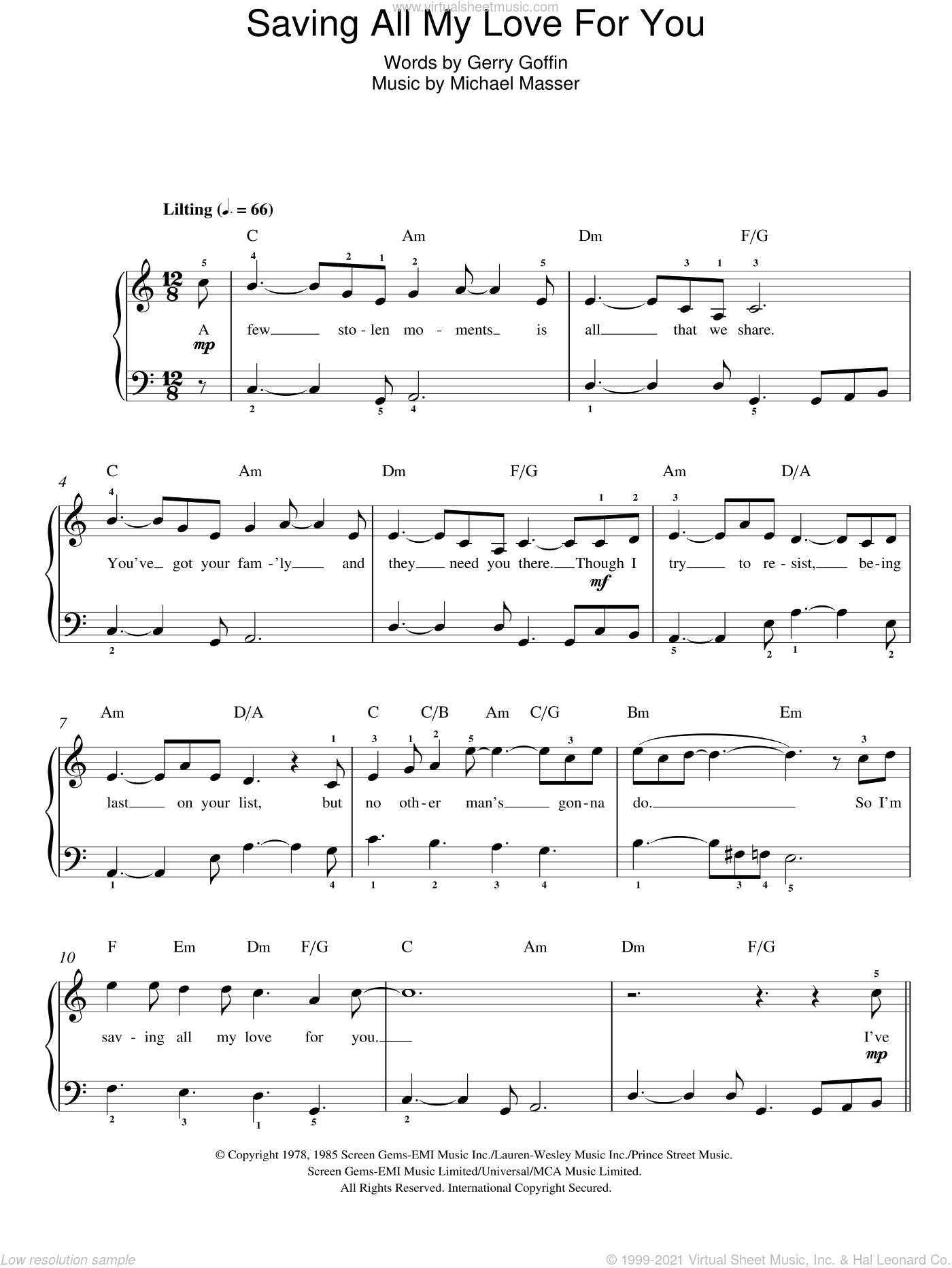 Saving All My Love For You sheet music for piano solo by Whitney Houston, Gerry Goffin and Michael Masser, easy skill level
