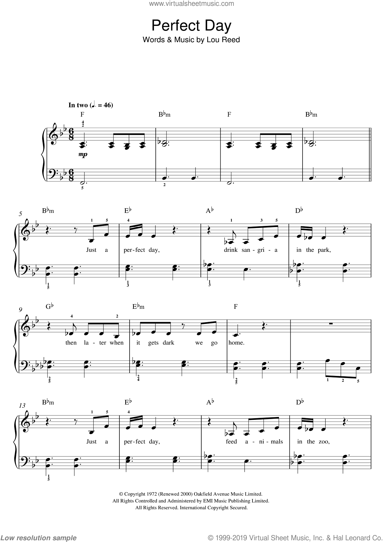 Perfect Day sheet music for piano solo by Lou Reed and Susan Boyle. Score Image Preview.