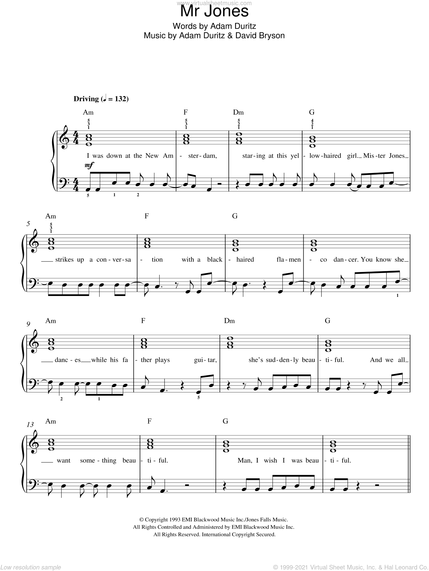 Mr. Jones sheet music for piano solo by Counting Crows, easy piano. Score Image Preview.