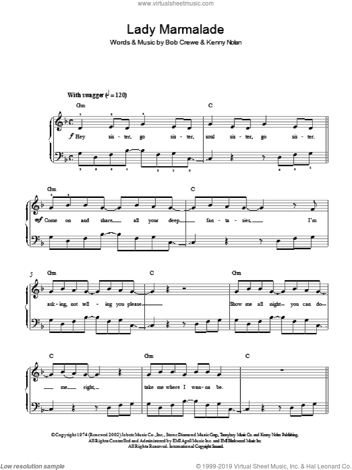 Lady Marmalade sheet music for piano solo by All Saints, Bob Crewe and Kenny Nolan, easy skill level