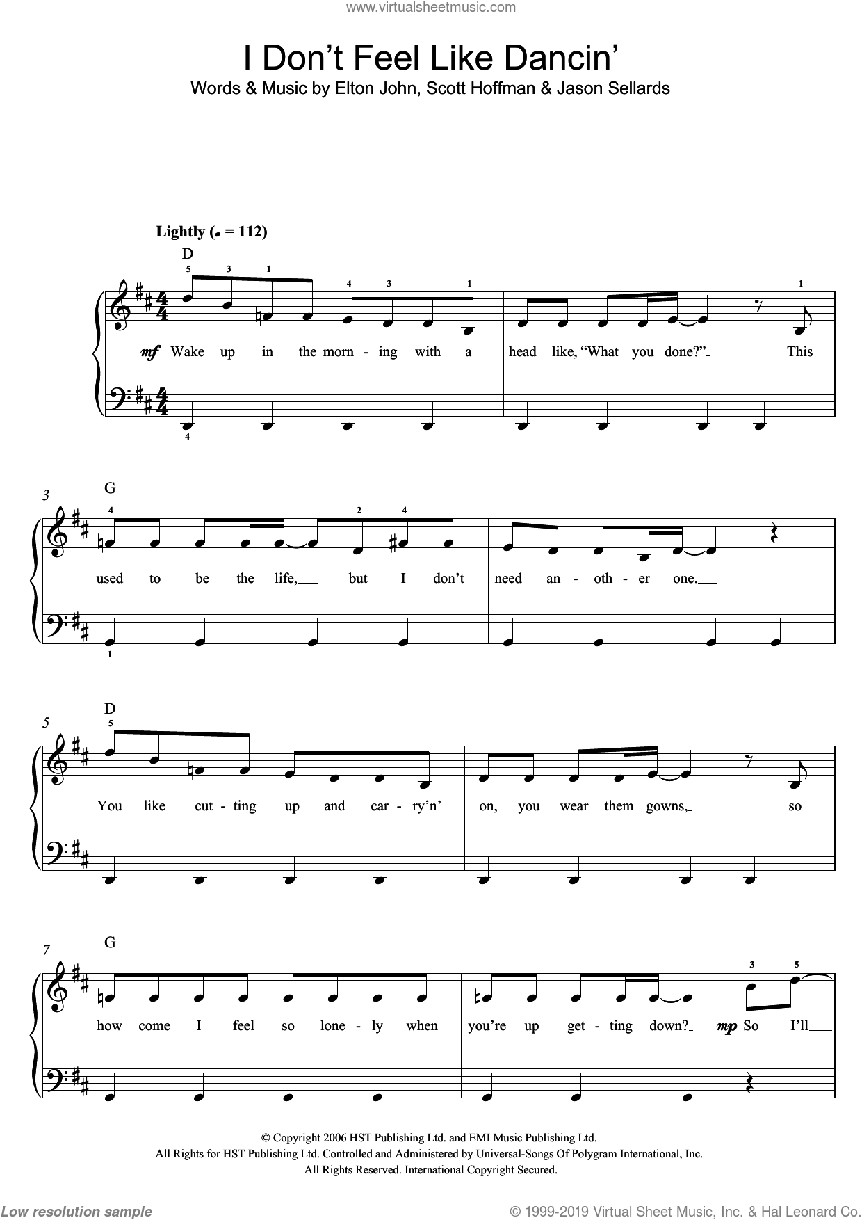 I Don't Feel Like Dancin' sheet music for piano solo (beginners) by Scissor Sisters, Elton John, Jason Sellards and Scott Hoffman, beginner piano (beginners)