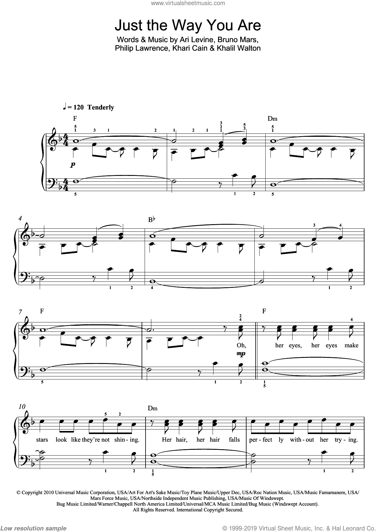 Just The Way You Are sheet music for piano solo (beginners) by Bruno Mars, Ari Levine, Khalil Walton, Khari Cain and Philip Lawrence, beginner piano (beginners)