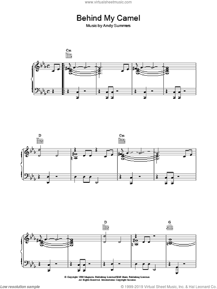 Behind My Camel sheet music for voice, piano or guitar by The Police and Andy Summers, intermediate skill level