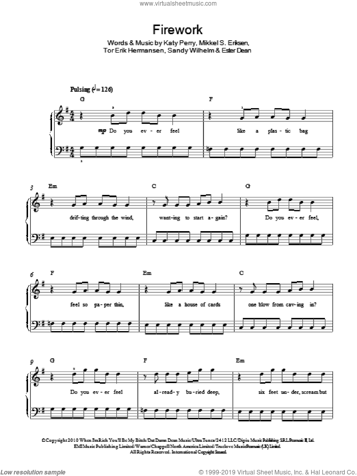 Firework sheet music for piano solo (chords) by Tor Erik Hermansen