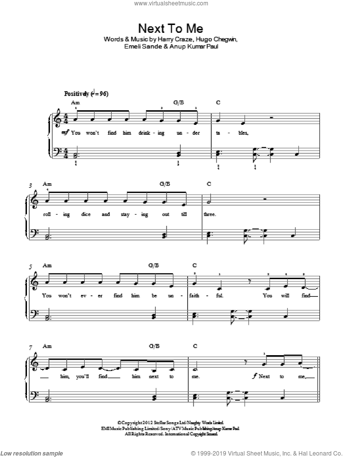 Next To Me (Next To You) sheet music for piano solo by Emeli Sande, Anup Kumar Paul, Harry Craze and Hugo Chegwin, easy skill level