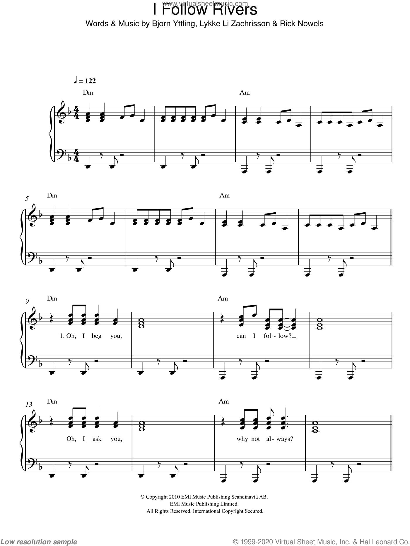 I Follow Rivers sheet music for piano solo by Lykke Li, Bjorn Yttling, Lykke Li Zachrisson and Rick Nowels, easy skill level
