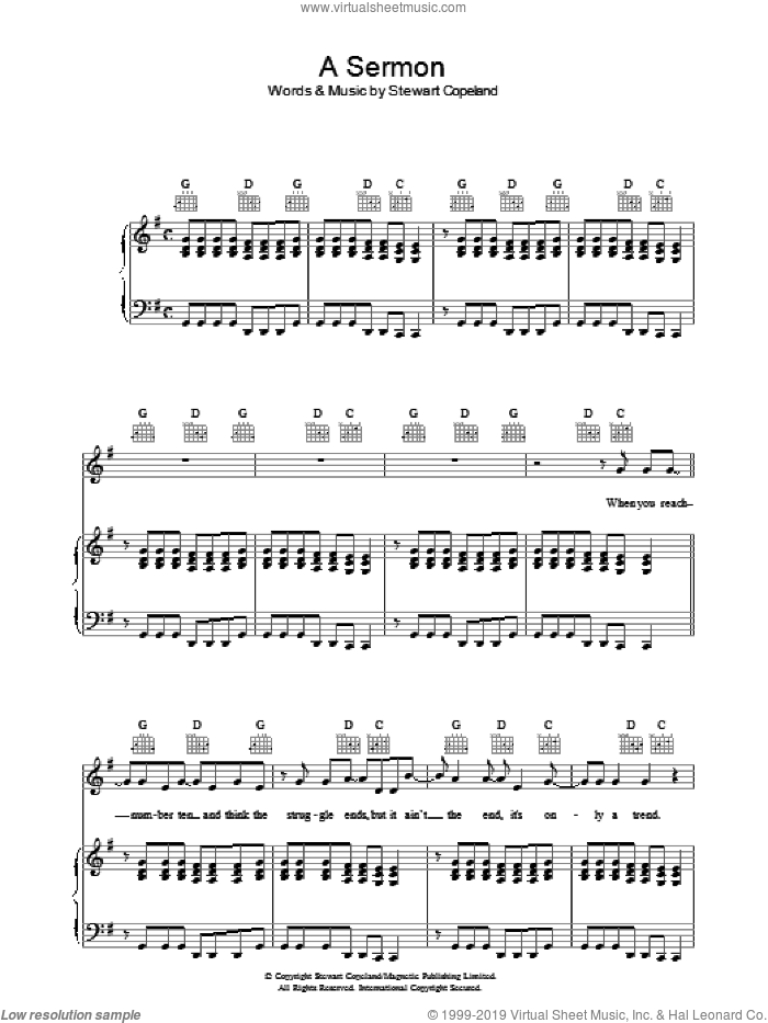 A Sermon sheet music for voice, piano or guitar by The Police, intermediate voice, piano or guitar. Score Image Preview.