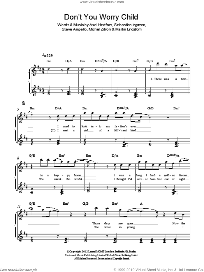 Don't You Worry Child sheet music for piano solo by Steve Angello, Swedish House Mafia, Axel Hedfors and Michel Zitron. Score Image Preview.