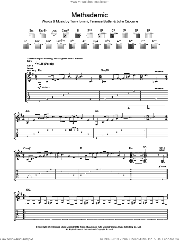 Methademic sheet music for guitar (tablature) by Tony Iommi, Black Sabbath and Terence Butler. Score Image Preview.