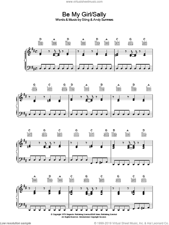 Be My Girl - Sally sheet music for voice, piano or guitar by The Police, Andy Summers and Sting, intermediate skill level