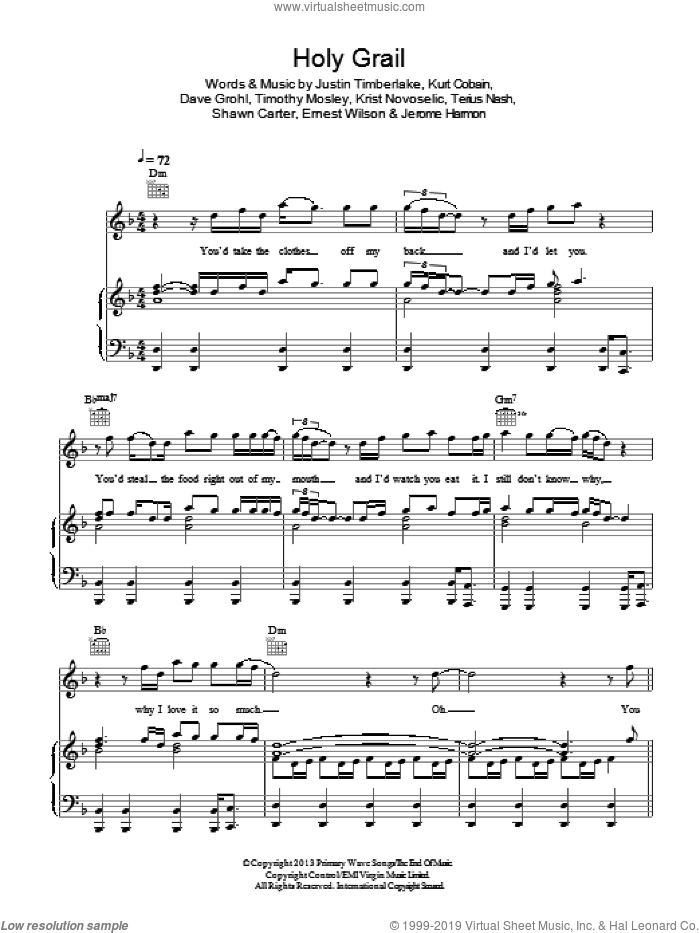 Holy Grail sheet music for voice, piano or guitar by Jay-Z, Dave Grohl, Ernest Wilson, Jerome Harmon, Justin Timberlake, Krist Novoselic, Kurt Cobain, Shawn Carter, Terius Nash and Tim Mosley, intermediate skill level