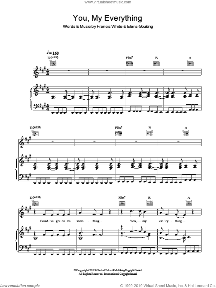 You, My Everything sheet music for voice, piano or guitar by Ellie Goulding, Elena Goulding and Francis White, intermediate skill level