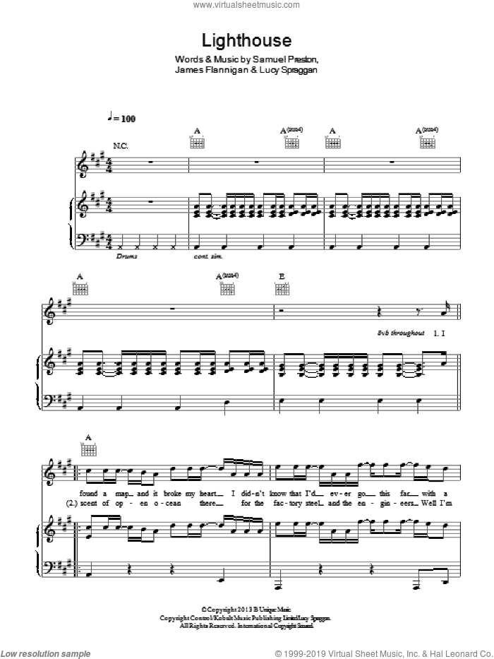 Lighthouse sheet music for voice, piano or guitar by Lucy Spraggan, James Flannigan and Samuel Preston, intermediate skill level