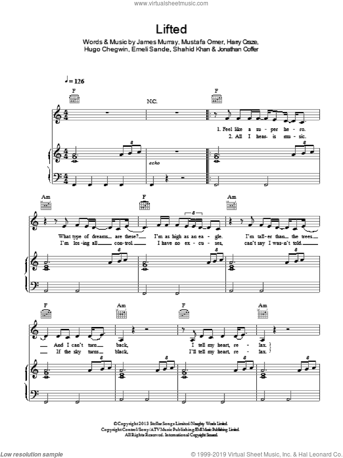 Lifted sheet music for voice, piano or guitar by Naughty Boy, Emeli Sande, Harry Craze, Hugo Chegwin, James Murray, Jonathan Coffer, Mustafa Omer and Shahid Khan, intermediate skill level