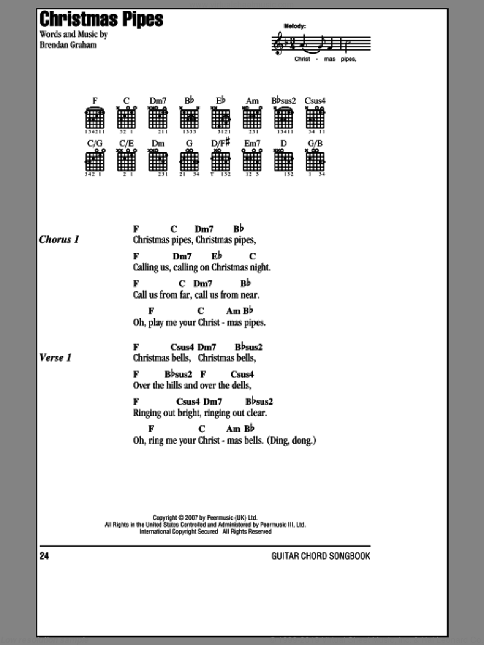 Christmas Pipes sheet music for guitar (chords) by Celtic Woman, intermediate skill level