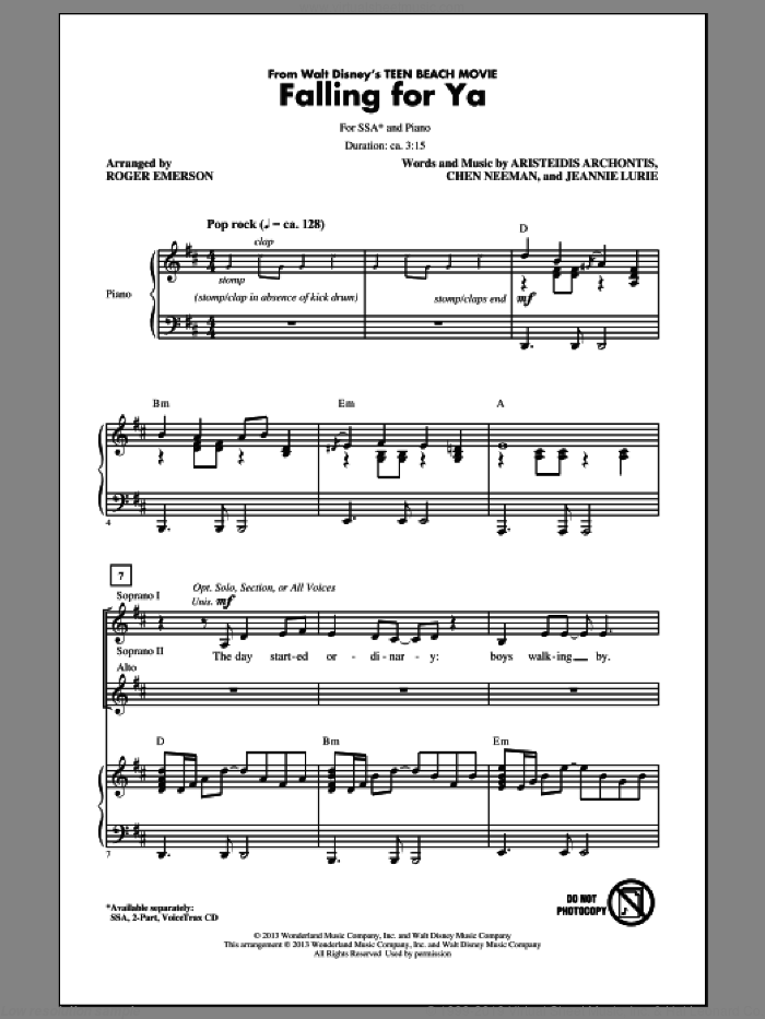 Falling For Ya (from Teen Beach Movie) sheet music for choir (soprano voice, alto voice, choir) by Roger Emerson. Score Image Preview.