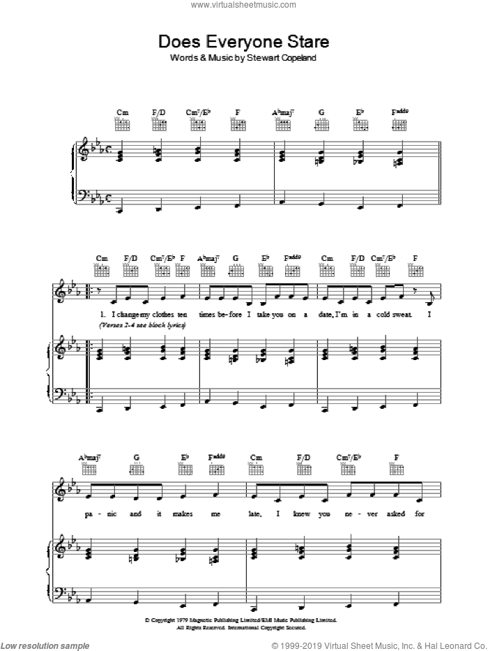 Does Everyone Stare sheet music for voice, piano or guitar by Stewart Copeland and The Police. Score Image Preview.