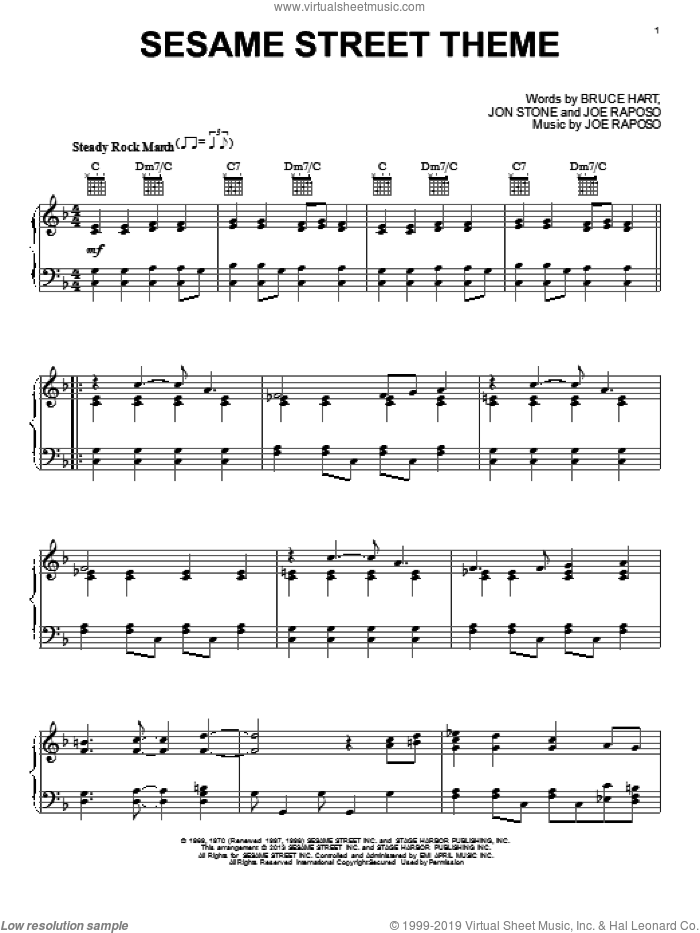 Sesame Street Theme sheet music for piano solo by Jon Stone, Bruce Hart and Joe Raposo, intermediate piano. Score Image Preview.
