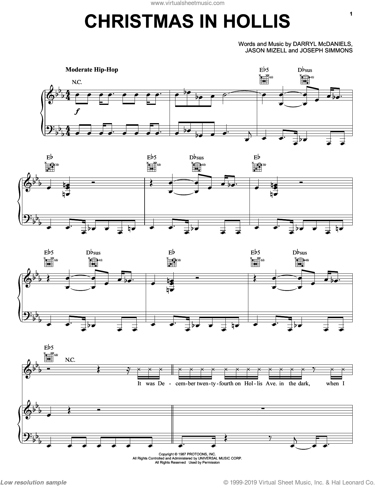 Christmas In Hollis sheet music for voice, piano or guitar by Run DMC, intermediate skill level