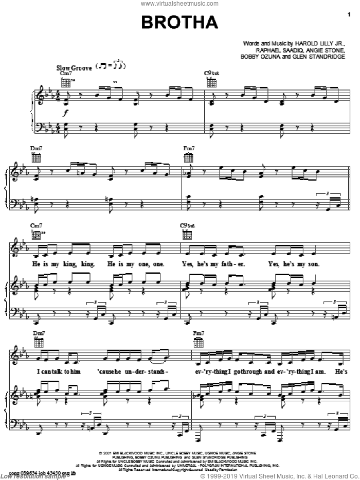 Brotha sheet music for voice, piano or guitar by Angie Stone, intermediate. Score Image Preview.