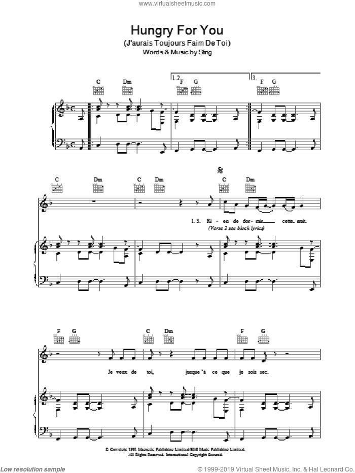 Hungry For You (J'aurais Toujours Faim De Toi) sheet music for voice, piano or guitar by The Police and Sting, intermediate skill level