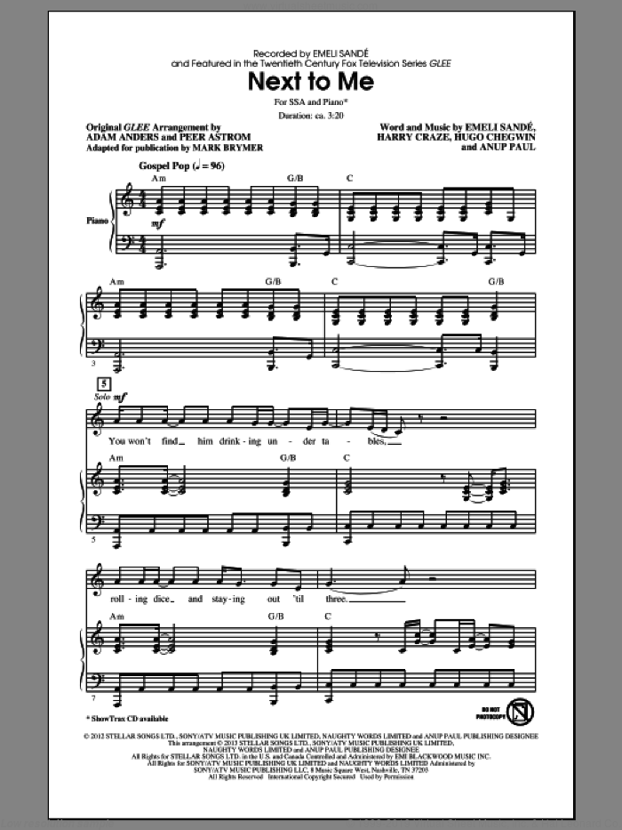 Next To Me sheet music for choir and piano (SSA) by Mark Brymer and Emeli Sande. Score Image Preview.