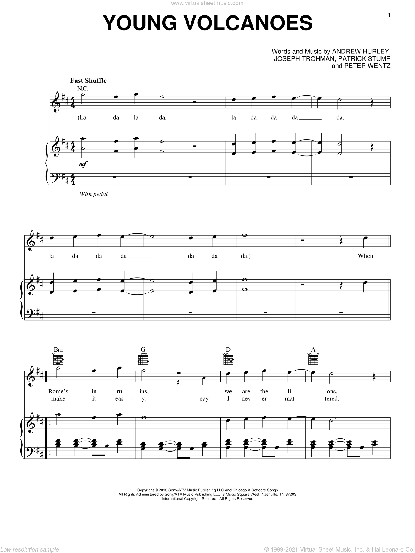 Young Volcanoes sheet music for voice, piano or guitar by Fall Out Boy