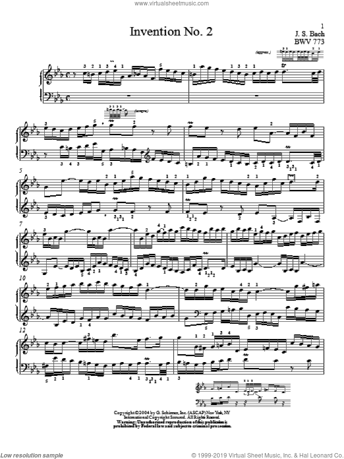 Invention No. 2 sheet music for piano solo by Johann Sebastian Bach and Christopher Taylor, classical score, intermediate skill level