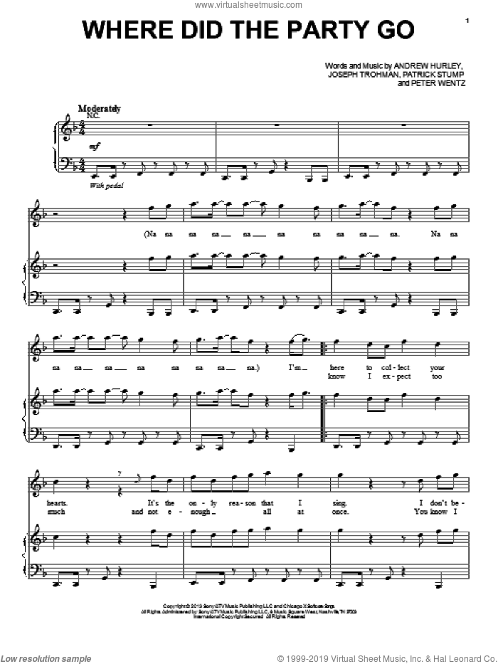 Where Did The Party Go sheet music for voice, piano or guitar by Fall Out Boy, intermediate skill level