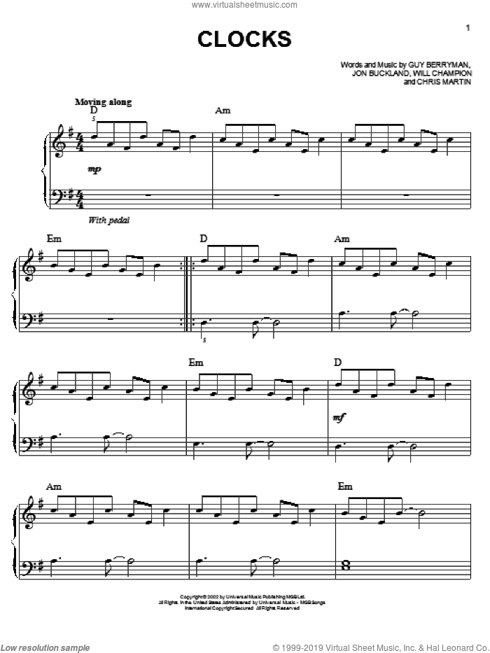 Clocks, (easy) sheet music for piano solo by Coldplay, easy skill level