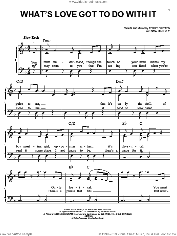 What's Love Got To Do With It sheet music for piano solo by Tina Turner. Score Image Preview.