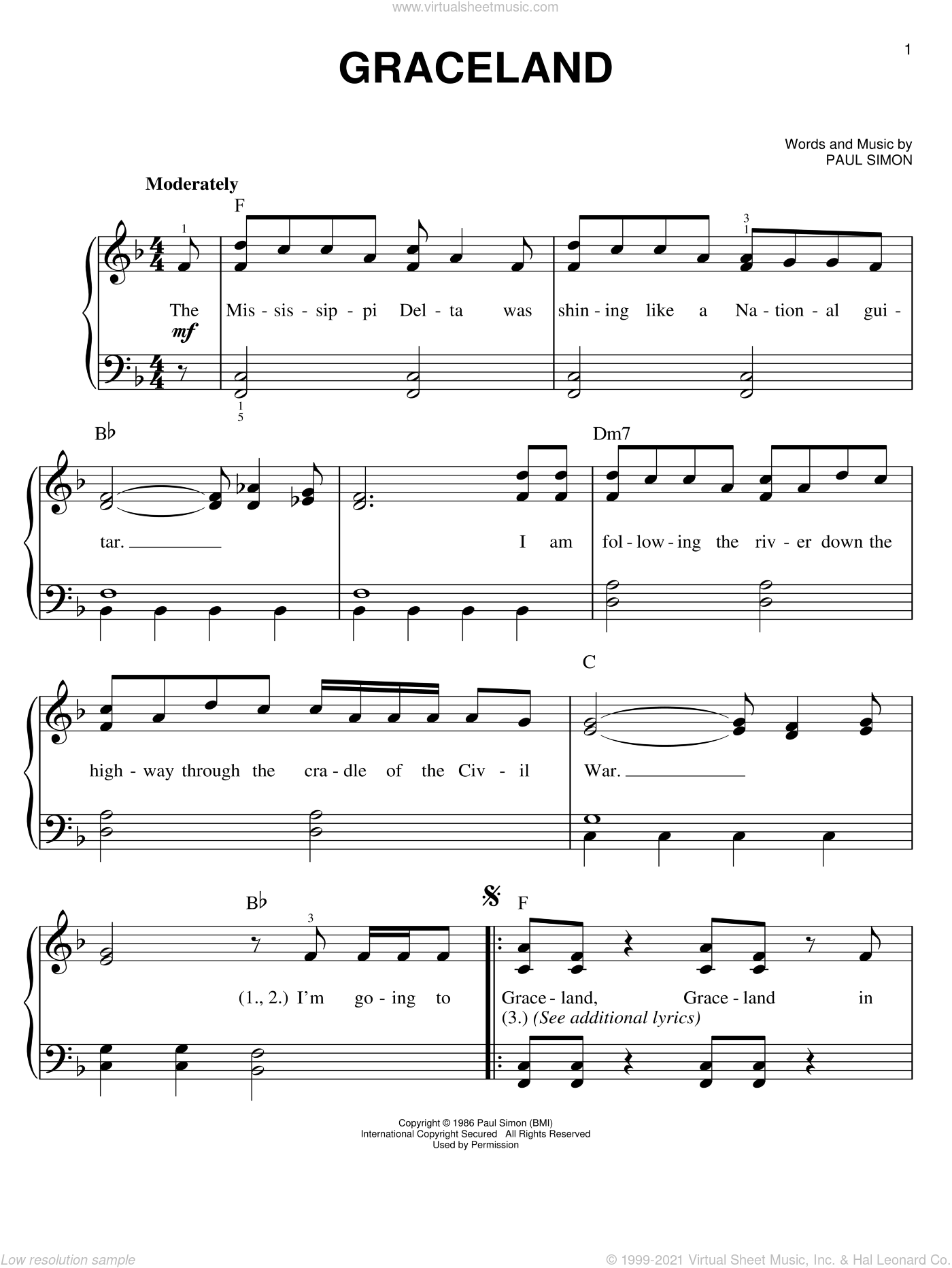 Graceland sheet music for piano solo by Paul Simon, easy. Score Image Preview.