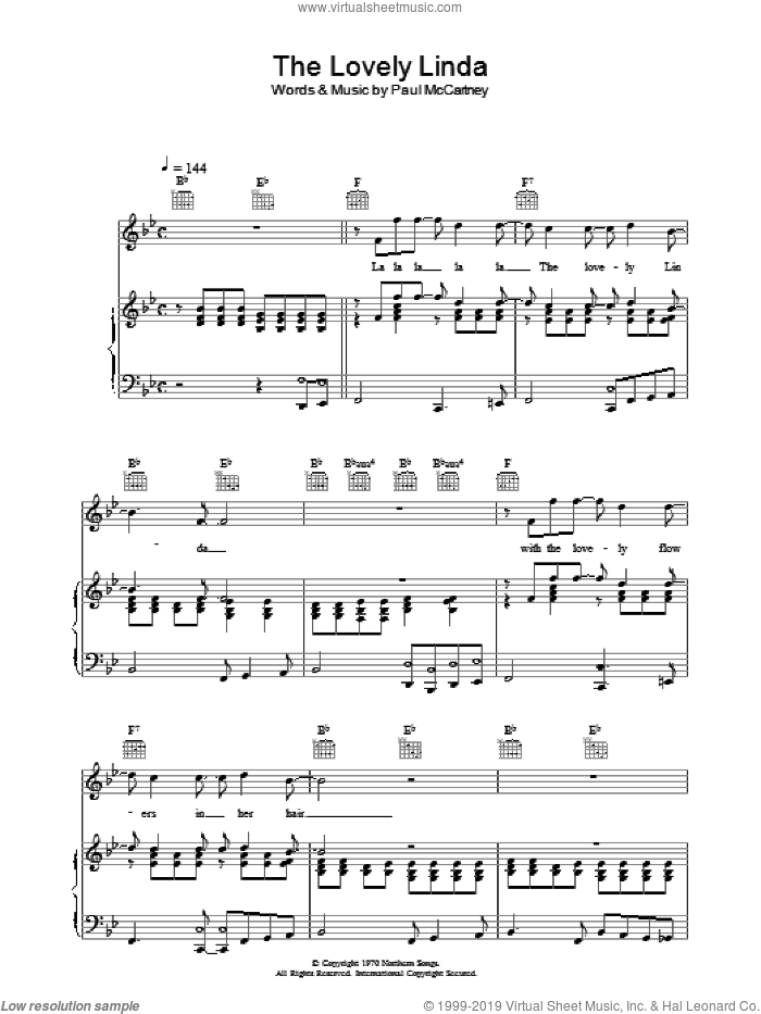 The Lovely Linda sheet music for voice, piano or guitar by Paul McCartney. Score Image Preview.