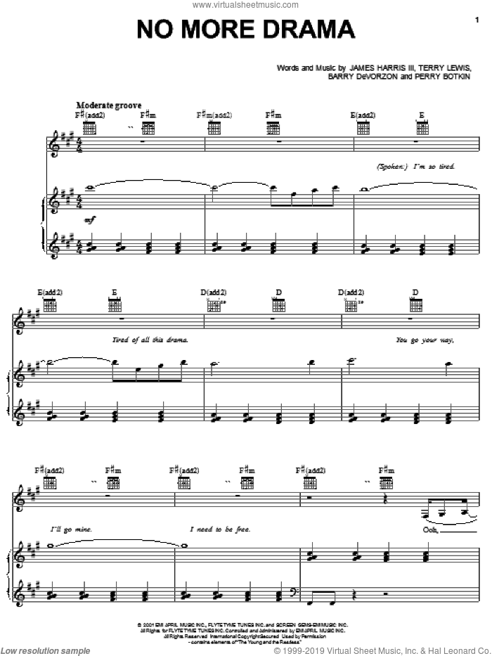 No More Drama sheet music for voice, piano or guitar by Mary J. Blige, Barry DeVorzan, James Harris and Perry Botkin, Jr., intermediate skill level