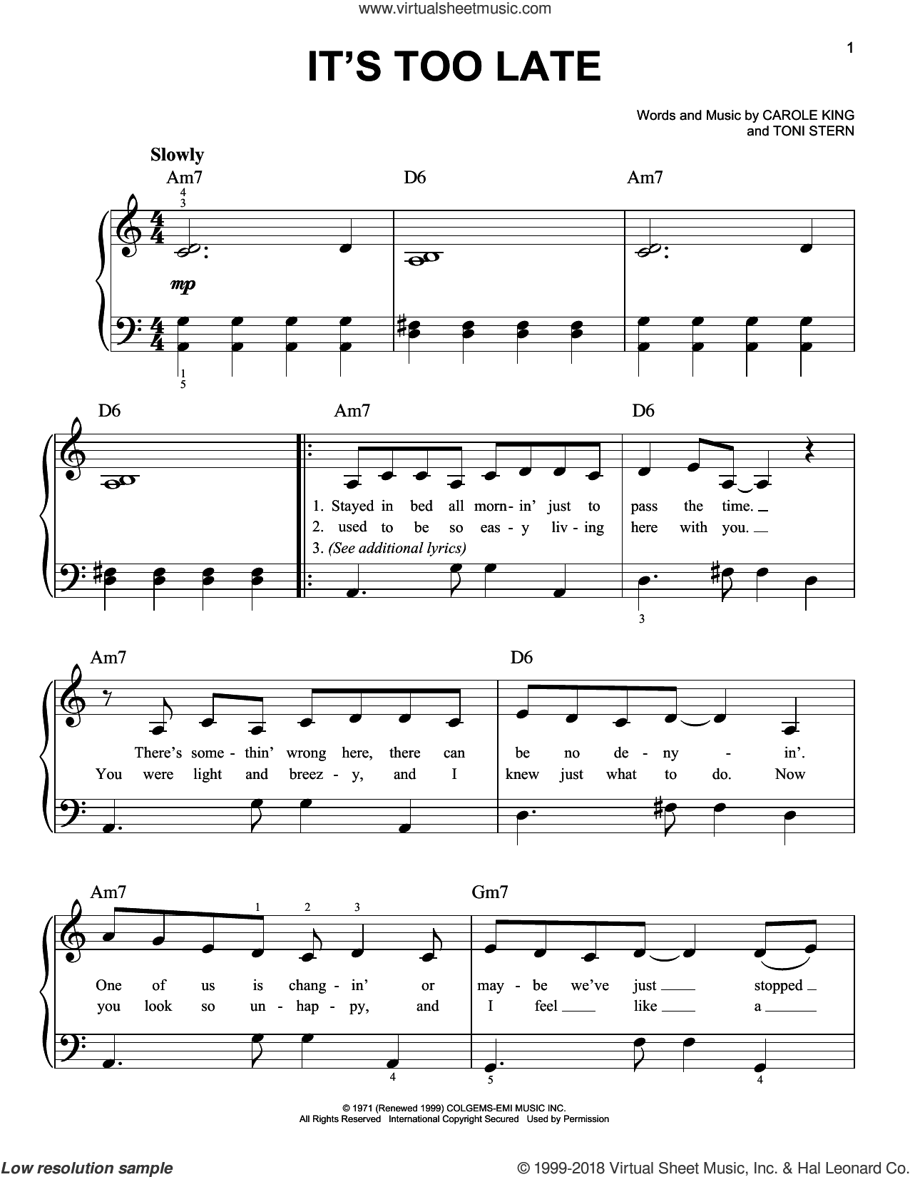 It's Too Late sheet music for piano solo by Carole King. Score Image Preview.