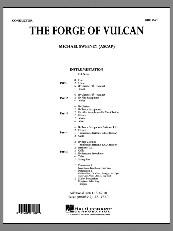 The Forge of Vulcan (COMPLETE) sheet music for concert band by Michael Sweeney, intermediate. Score Image Preview.