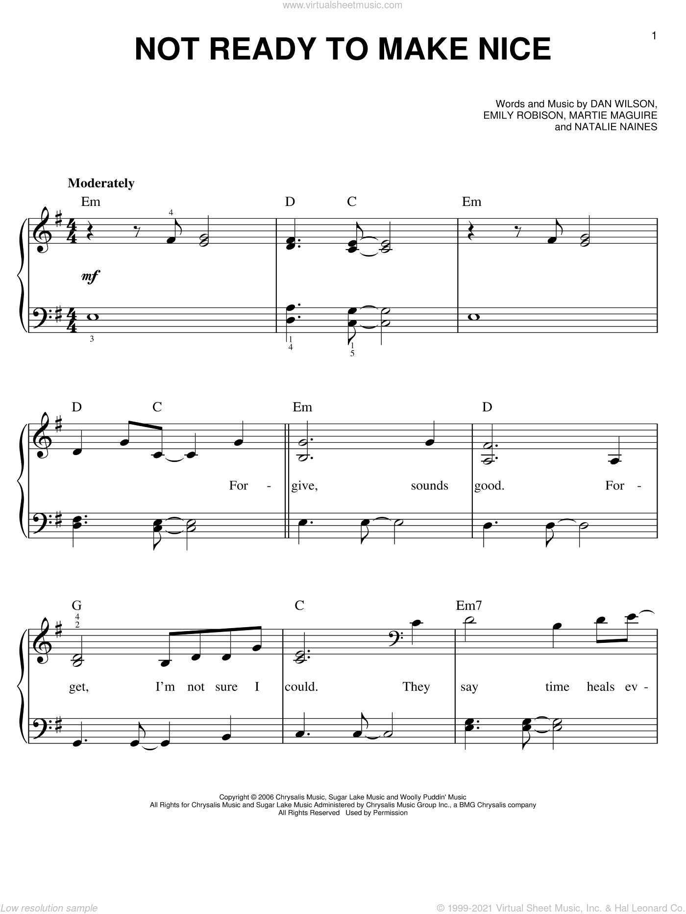 Not Ready To Make Nice sheet music for piano solo by Dixie Chicks, easy skill level