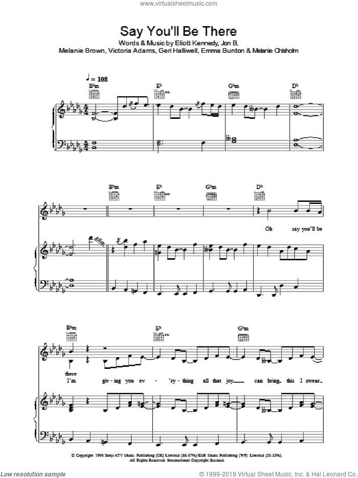Say You'll Be There sheet music for voice, piano or guitar by The Spice Girls, Eliot Kennedy, Emma Bunton, Geri Halliwell, Jon B, Melanie Brown, Melanie Chisholm and Victoria Adams, intermediate skill level