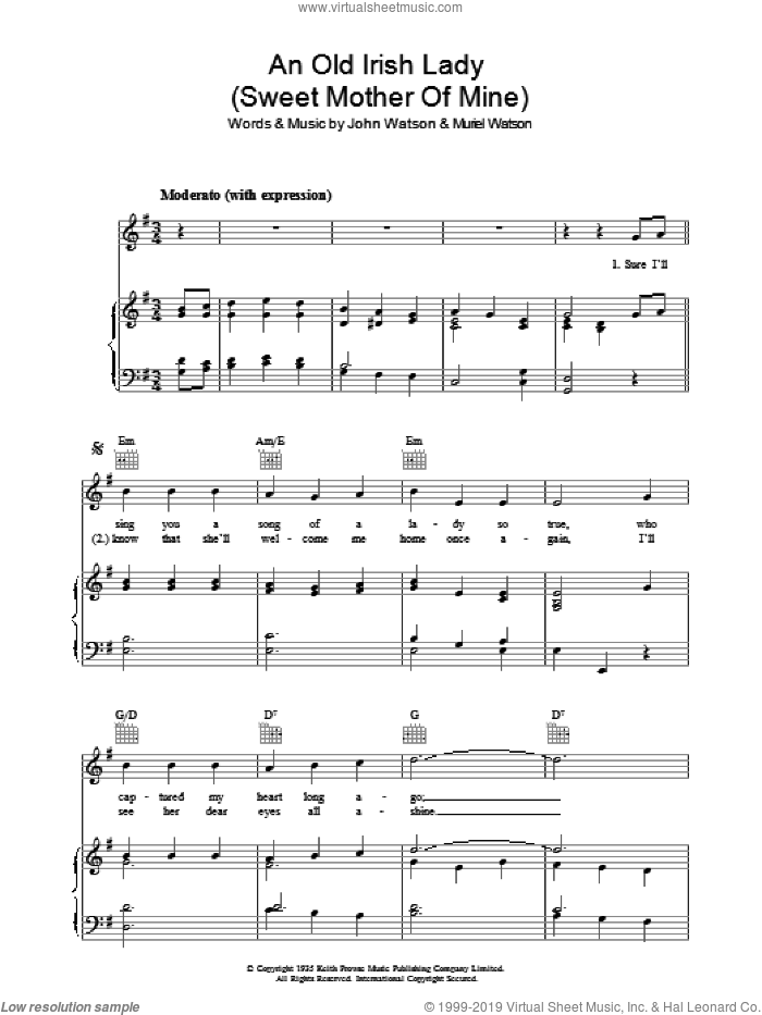 An Old Irish Lady (Sweet Mother Of Mine) sheet music for voice, piano or guitar by Johnny Watson and Muriel Watson, intermediate. Score Image Preview.