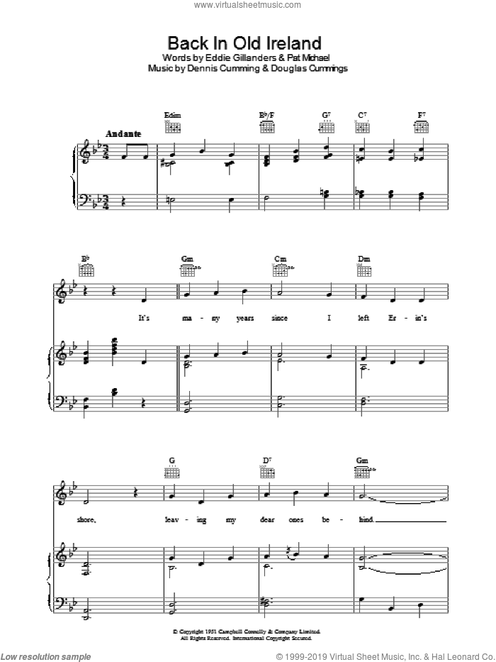 Back In Old Ireland sheet music for voice, piano or guitar by Pat Michael. Score Image Preview.