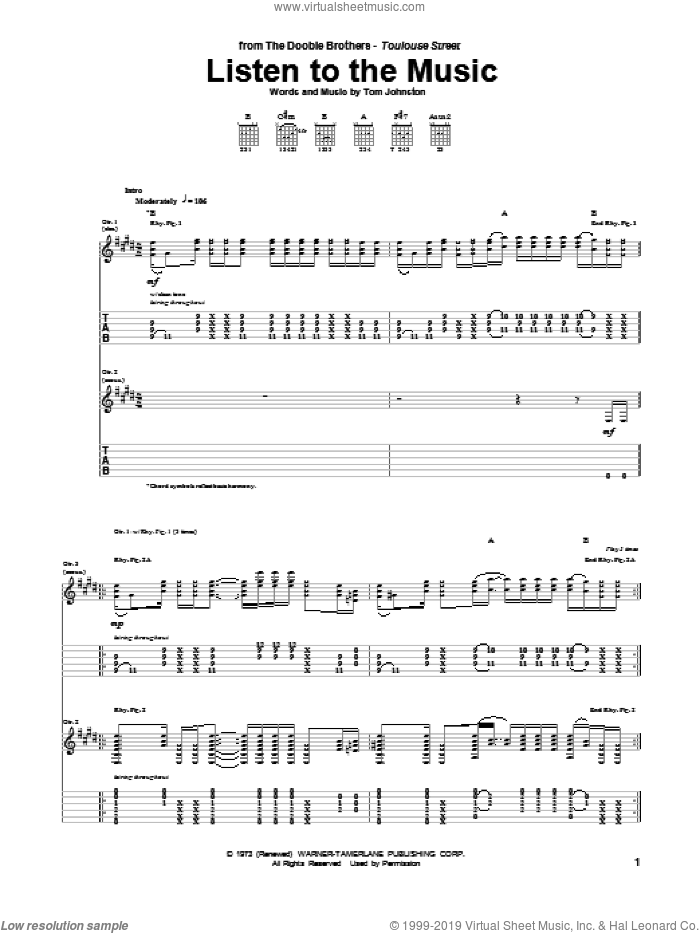 Listen To The Music sheet music for guitar (tablature) by The Doobie Brothers, intermediate skill level