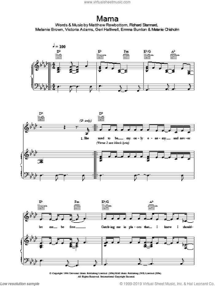 Mama sheet music for voice, piano or guitar by The Spice Girls, Emma Bunton, Geri Halliwell, Matt Rowe, Melanie Brown, Melanie Chisholm, Richard Stannard and Victoria Adams, intermediate. Score Image Preview.