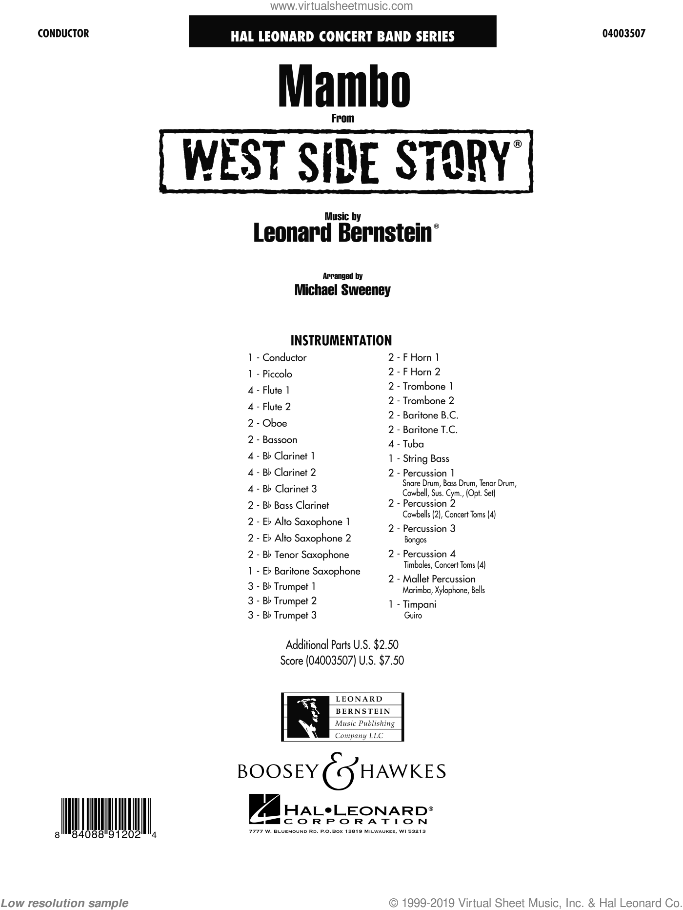 Mambo (from West Side Story) (COMPLETE) sheet music for concert band by Leonard Bernstein and Michael Sweeney, intermediate. Score Image Preview.