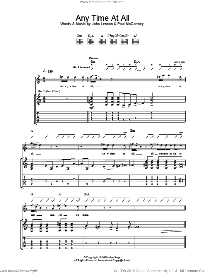 Any Time At All sheet music for guitar (tablature) by The Beatles, John Lennon and Paul McCartney, intermediate skill level